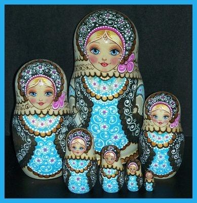Russian Wooden Nesting Dolls Pyroengraved 7 Pcs Matreshka Matryoshka | eBay