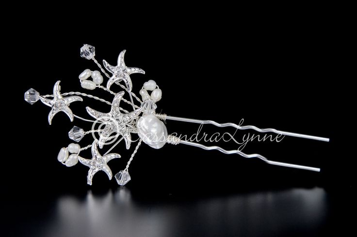 Beach Bridal Hair Pin with Jeweled Starfish and Pearls from Cassandra Lynne