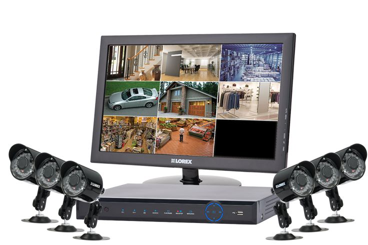Complete camera security surveillance system  with 6 outdoor security cameras and monitor