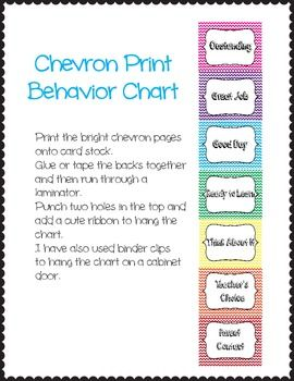 Chevron Print Behavior Chart