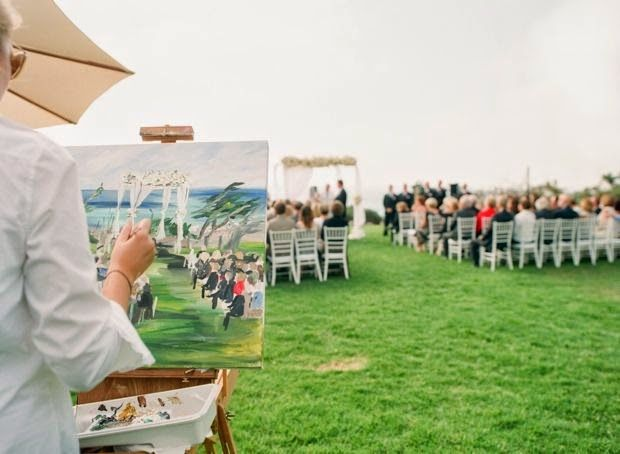 21 Insanely Fun Wedding Ideas - Have an artist paint your ceremony Live art is an amazingly fun addition to a fun and light-hearted celebration.