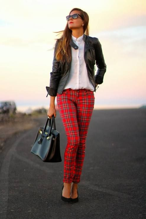 Cute Christmas Outfit! leather jacket + white blouse + tartan print pants