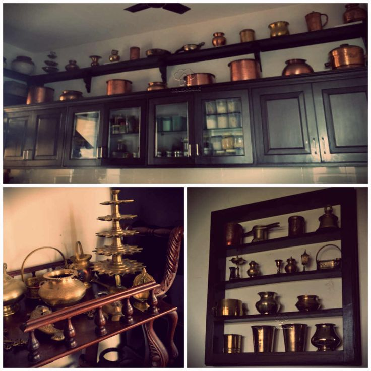 A South Indian home with a stunning display of  traditional brass utensils.