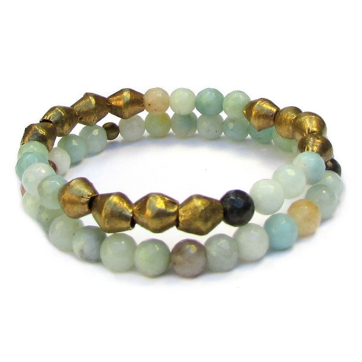 Positivity, genuine amazonite gemstone mala bracelet stack with Africa – Lovepray jewelry