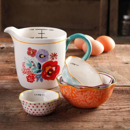 The Pioneer Woman Flea Market 5-Piece Prep Set, 4-Piece Measuring Bowls with 4-cup Measuring Cup - Walmart.com