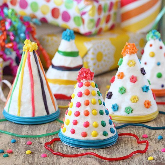 Bring the fun with this adorable Birthday Party Hat Cakes! Get the full how-to here: http://www.bhg.com/recipes/desserts/cupcakes/birthday-party-hat-cakes/?socsrc=bhgpin072414birthdaypartyhatcakes