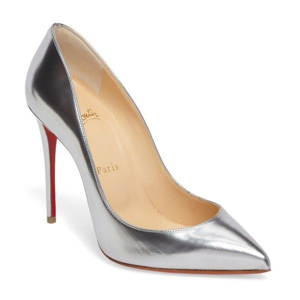 Women's Christian Louboutin Pigalle Follies Pump (2,235 PEN) ❤ liked on Polyvore featuring shoes, pumps, heels, louboutin, обувь, metallic silver, silver metallic pumps, red pointed toe pumps, heel pump and red stiletto pumps