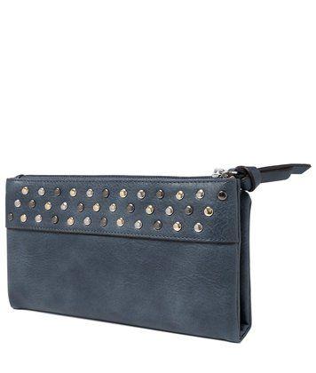 Синий кошелек-портмоне женский с металлическим стразами