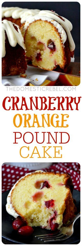 This Cranberry Orange Pound Cake is fabulous for the holidays! Moist, buttery pound cake studded with juicy, bright cranberries and zesty orange and topped with a smooth cream cheese glaze. Easy and impressive!