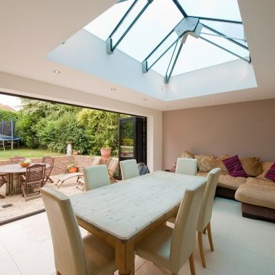 This Glass Beam Supported Glass Rooflight was installed in the dining room of a private residence in West Sussex