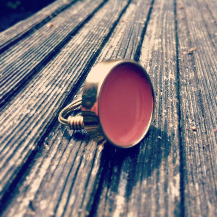 Gold and Peach Vintage Button Ring