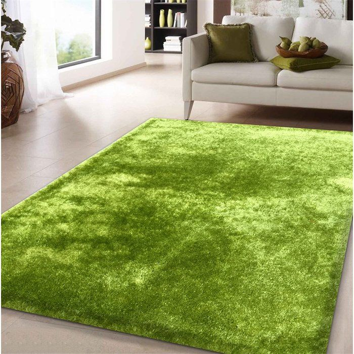 Amore Shag Lime Area Rug With Images Green Area Rugs