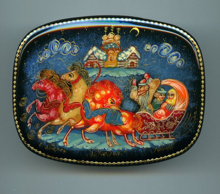 """Russian Lacquer Box Style Palekh """"Troika"""" Three Horses Hand Painted 
