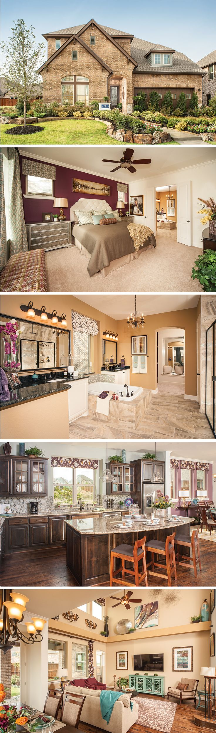 The Almondwood by David Weekley Homes in Campion Hollows is a 5 or 6 bedroom home that features a covered porch, a study and a open kitchen and family room. Custom home features include a wet bar, an expanded outdoor living area and a beautiful curved staircase.