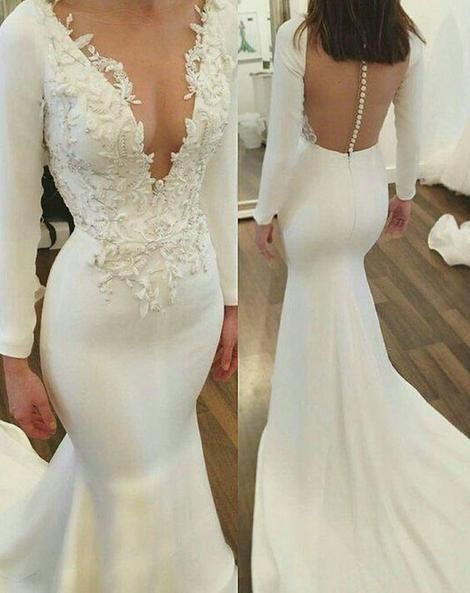Mermaid Wedding Dress,Long Sleeves Wedding Dresses,Lace Bridal Dresses,Wedding Dresses