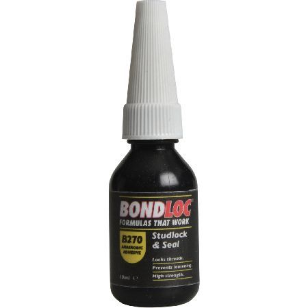 #Bondloc B270 Studlock High Strength #Bondloc B270 Studlock is a permanent green coloured general-purpose adhesive for permanent threaded assemblies. B270 locks studs up to 1in, sealing against leakage and corrosion. It is chemical resistant, resisting fuels, lubricants and most indus... (Barcode EAN=5002701020023)