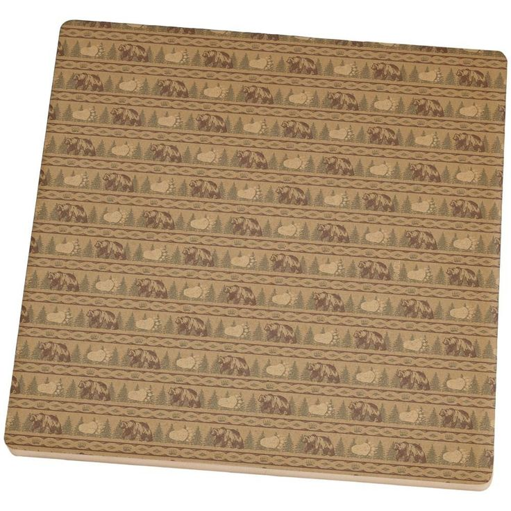 Grizzly Bear Adirondack Pattern Tan Set of 4 Square Sandstone Coasters