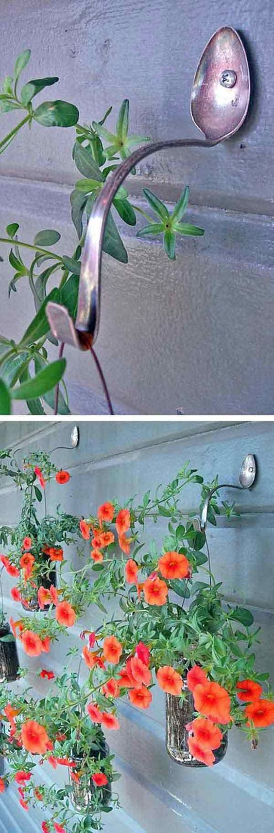 DIY Spoon Planter Hangers: A fun DIY project for your backyard! Recycle these jars and old spoons to make these gorgeous hanging planters> They look so perfect in your front porch or backyard!