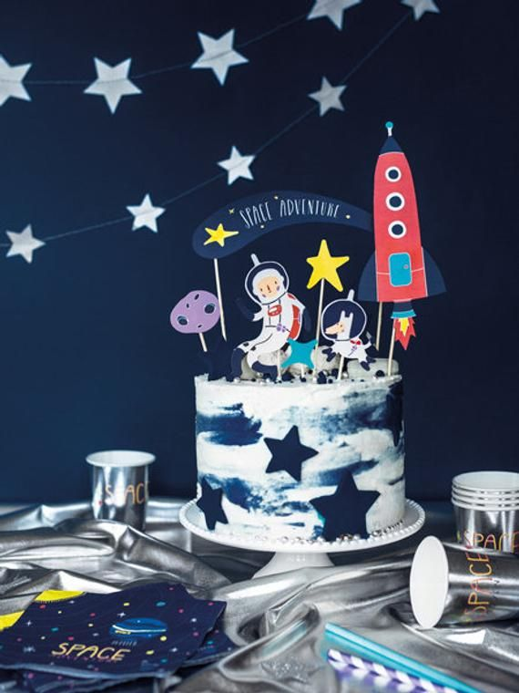 ET Happy Birthday Cake Topper Decorations with Rocket for Alien Theme Picks for Kids Party Decor Supplies