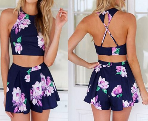 Navy Floral Two Piece