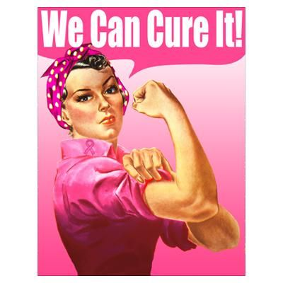 breast cancer cure rosie the riveter | CafePress > Wall Art > Posters > Rosie Riveter We Can Cure It Poster