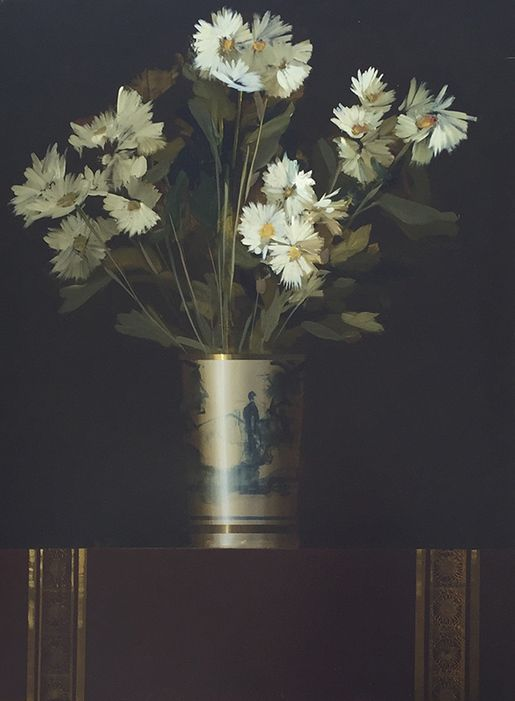 Martin Mooney Still Life Painting of a Chrysanthemum in a Chinese Vase