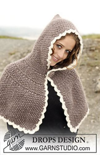 Ravelry: 0-446 Poncho with hood in Eskimo pattern by DROPS design free pattern