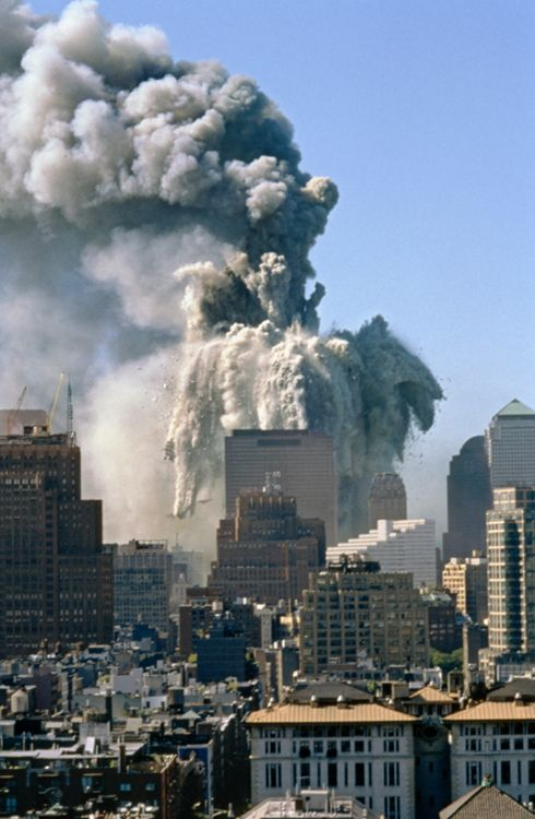 The world trade center twin towers collapse in New York City, US after terrorist attack 11 sept 2001.
