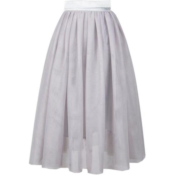 choies gray high waist mesh tulle skater skirt 18 liked