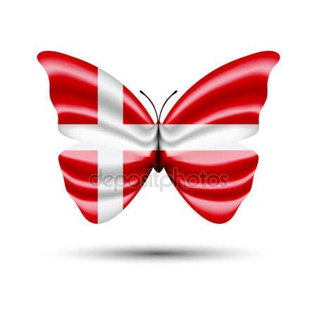 Denmark flag butterfly — Stock Vector © jackreznor #140490654