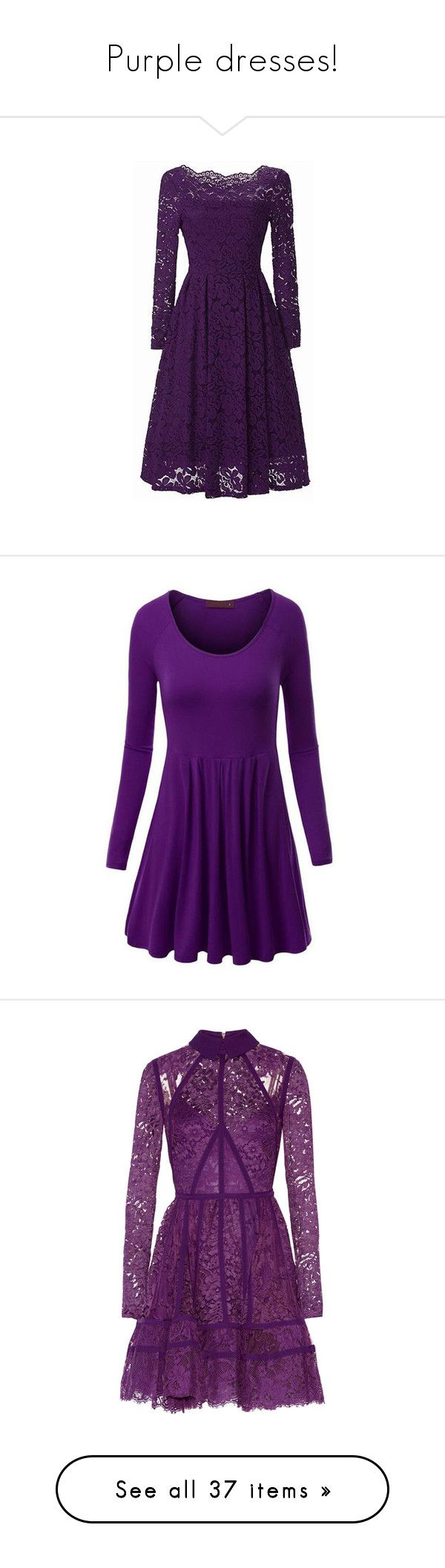 """""""Purple dresses!"""" by miss-image ❤ liked on Polyvore featuring dresses, purple, long sleeve knee length dress, boat neck dress, long sleeve print dress, lace sleeve dress, scalloped lace dress, pattern dress, long purple dress and long dresses"""