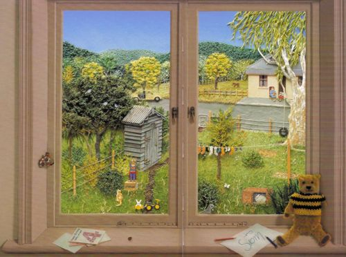 a book called Window, by Jeannie Baker. Each double page is a wordless view from a window, set over several years, and each view is an intricate collage.