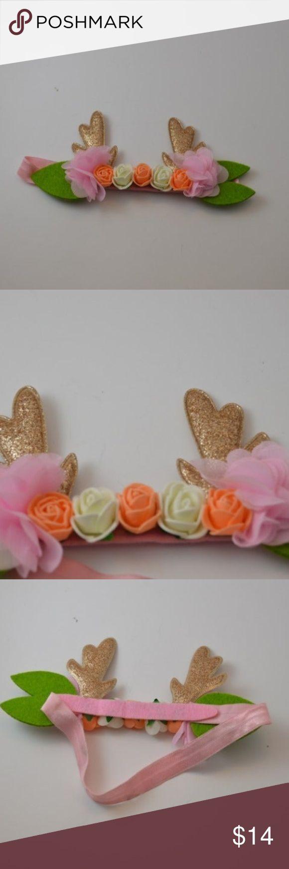 Baby Girl Floral Antler Headband In 2020 Baby Girl