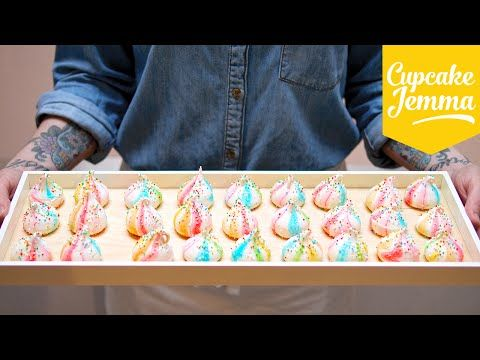 Really really nice technique to make the boring meringue looks much much more cute!      Circus Rainbow Marshmallow Meringues Recipe | Cupcake Jemma - YouTube