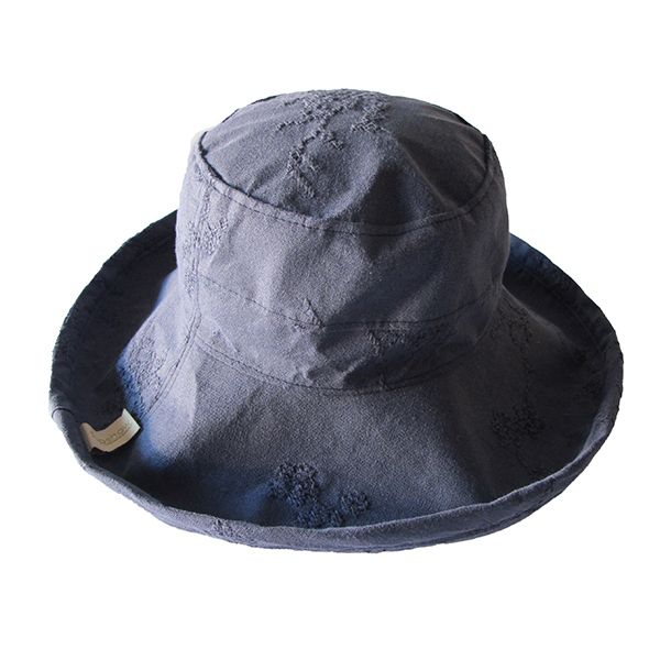 Embroided Blue Linen/Cotton - Wide Brim - The Noosa Hat - Topshow - the Noosa Hat