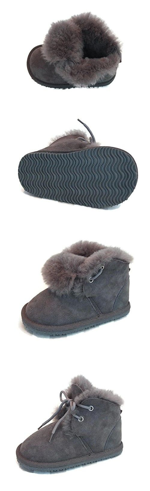 Cool Beans Genuine Sheepskin Leather Toddler Boy Winter Boots (Toddler size 5)