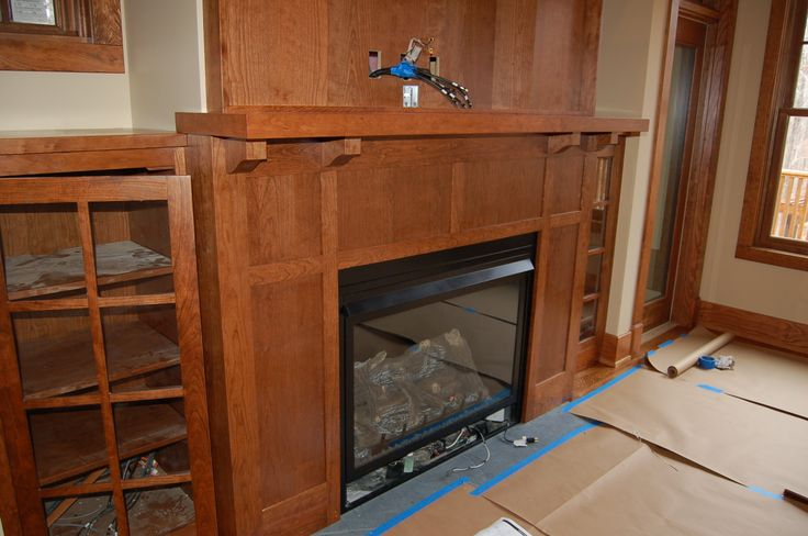 Nice craftsman style fireplace add natural stone around for Craftsman stone