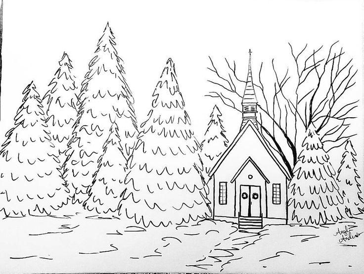Snowy Chapel Traceable Coloring Sheet #angelafineart