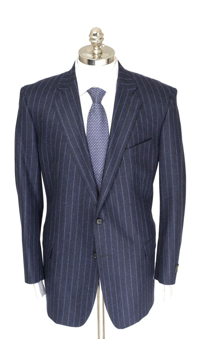 SOUTHWICK 1929 Navy Pinstripe Flannel Super 100's Wool 2Btn Suit  |  Get in there! http://www.frieschskys.com/suits  |  #frieschskys #mensfashion #fashion #mensstyle #style #moda #menswear #dapper #stylish #MadeInItaly #Italy #couture #highfashion #designer #shopping