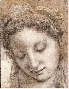 Agnolo Bronzino /1503-1572), Fanciulla sorridente, carboncino e gessetto nero evidenziato con gesso bianco su carta bianca, un po stilo-inciso, c. 1542-43. Parigi, Musée du Louvre, Département des Arts Graphiques.