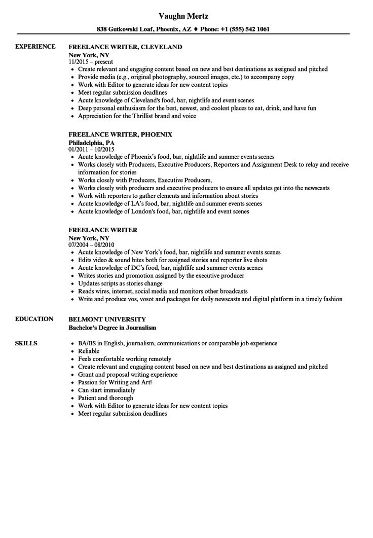 Freelance Writer Resume Samples Resume examples, Good