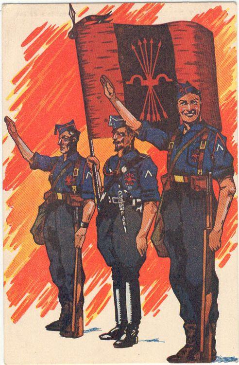 "Postcard titled ""Falange Española de las J.O.N.S"" from ""Los salvadores de España / The Saviors of Spain"" series and illustrated by A. Uriarte."