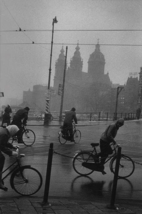 Bicycling weather, Amsterdam, the Netherlands, 1964, photograph by Leonard…