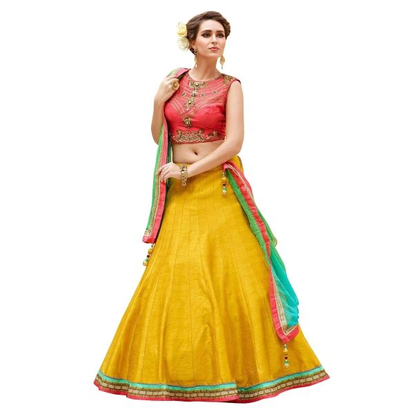Buy New Fancy Banglori Silk Peach And Yellow Embroidered Lehenga Choli Online at cheap prices from Shopkio.com: India`s best online shoping site