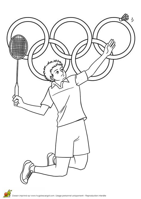 Joueur de badminton à colorier