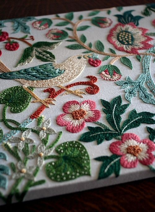 ♒ Enchanting Embroidery ♒ embroidered birds and flowers