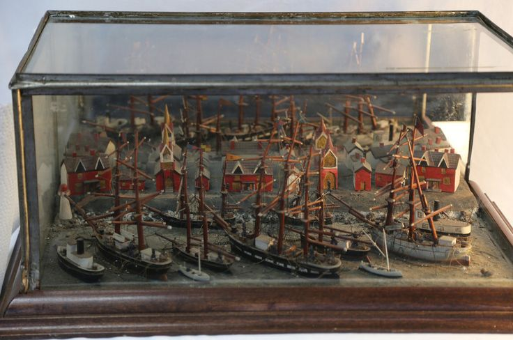 Tall Ships in a Canadian Port - Carved Scene