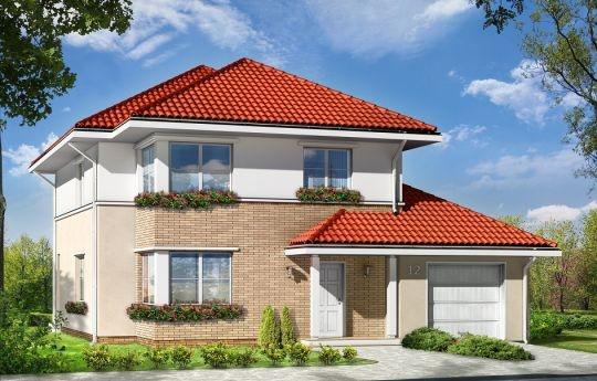 Projekt Ametyst to dom jednorodzinny dla rodziny cztero-sześcioosobowej. Budynek piętrowy przykryty wielospadowym dachem. Zwarta, prosta w budowie bryła budynku z dobudowanym garażem, została urozmaicona okładziną klinkierową elewacji, oraz podcieniami - wejściowym i ogrodowym.