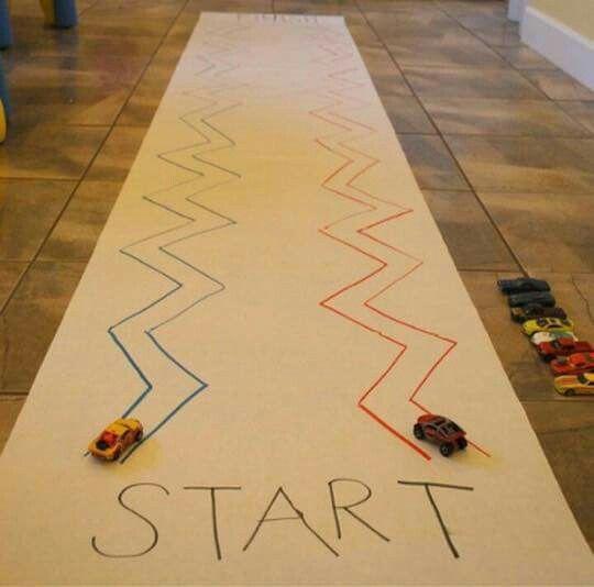 Fine motor skills practice - car race trace