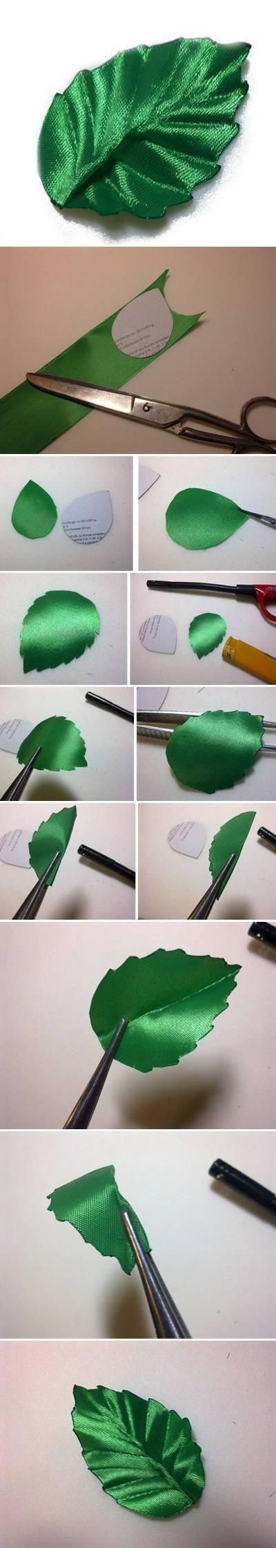 DIY Ribbon Crafts : DIY #RIbbonLeaf #phototutorial